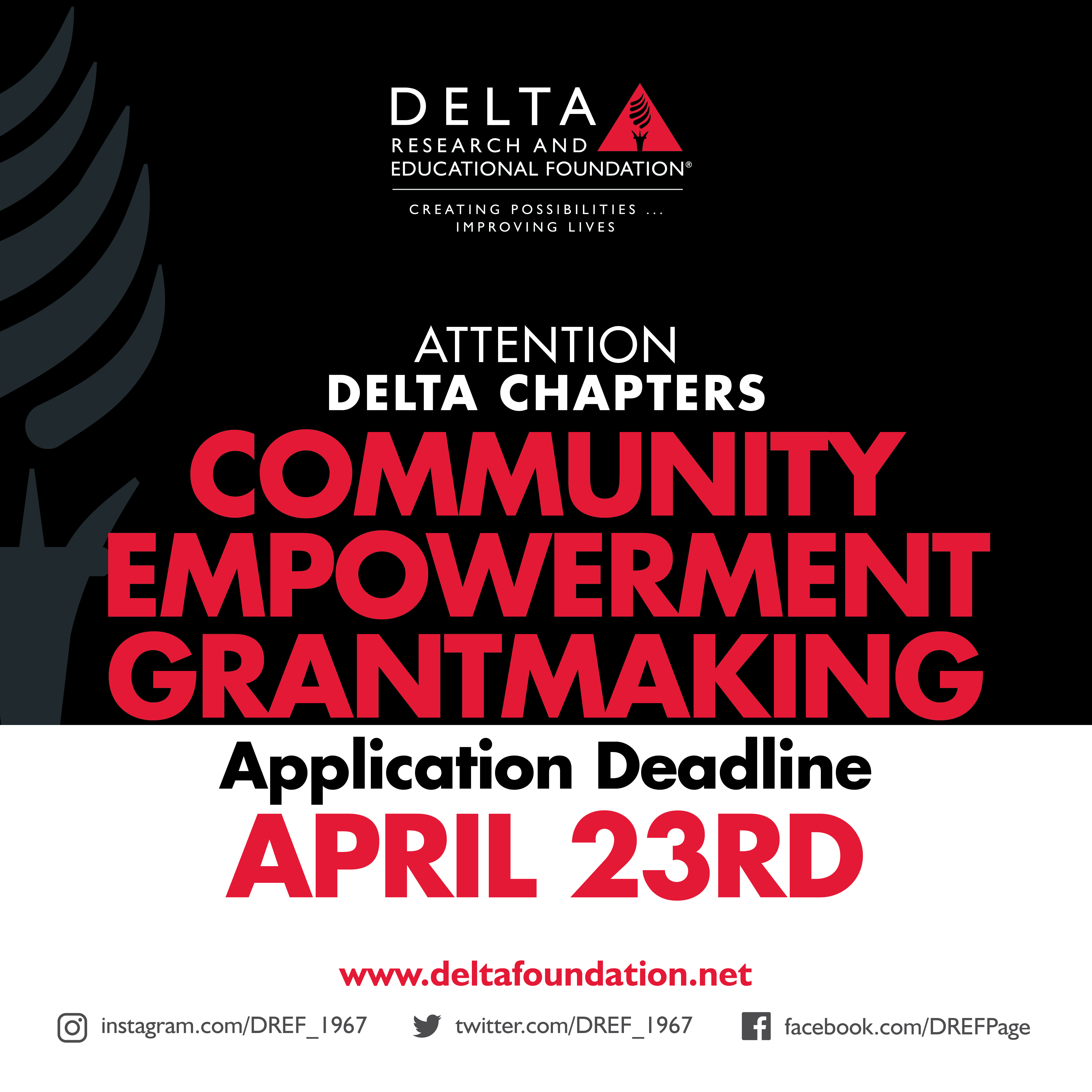Attention Delta Chapters - Annual Community Empowerment Grantmaking Application Deadline is extended to April 23rd.