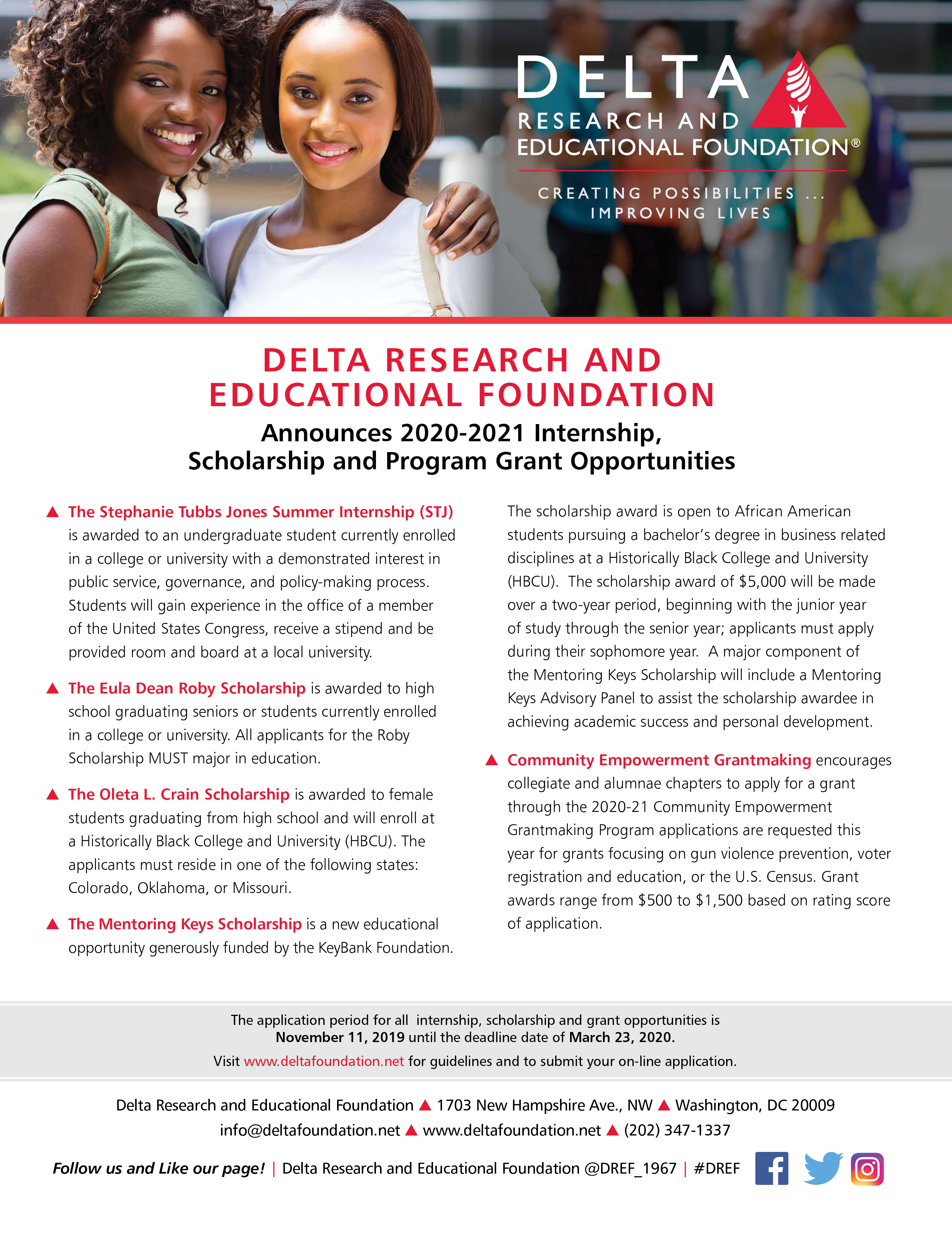 2020-2021 DREF Grant, Internship and Scholarship Opportunities Are Available Now!